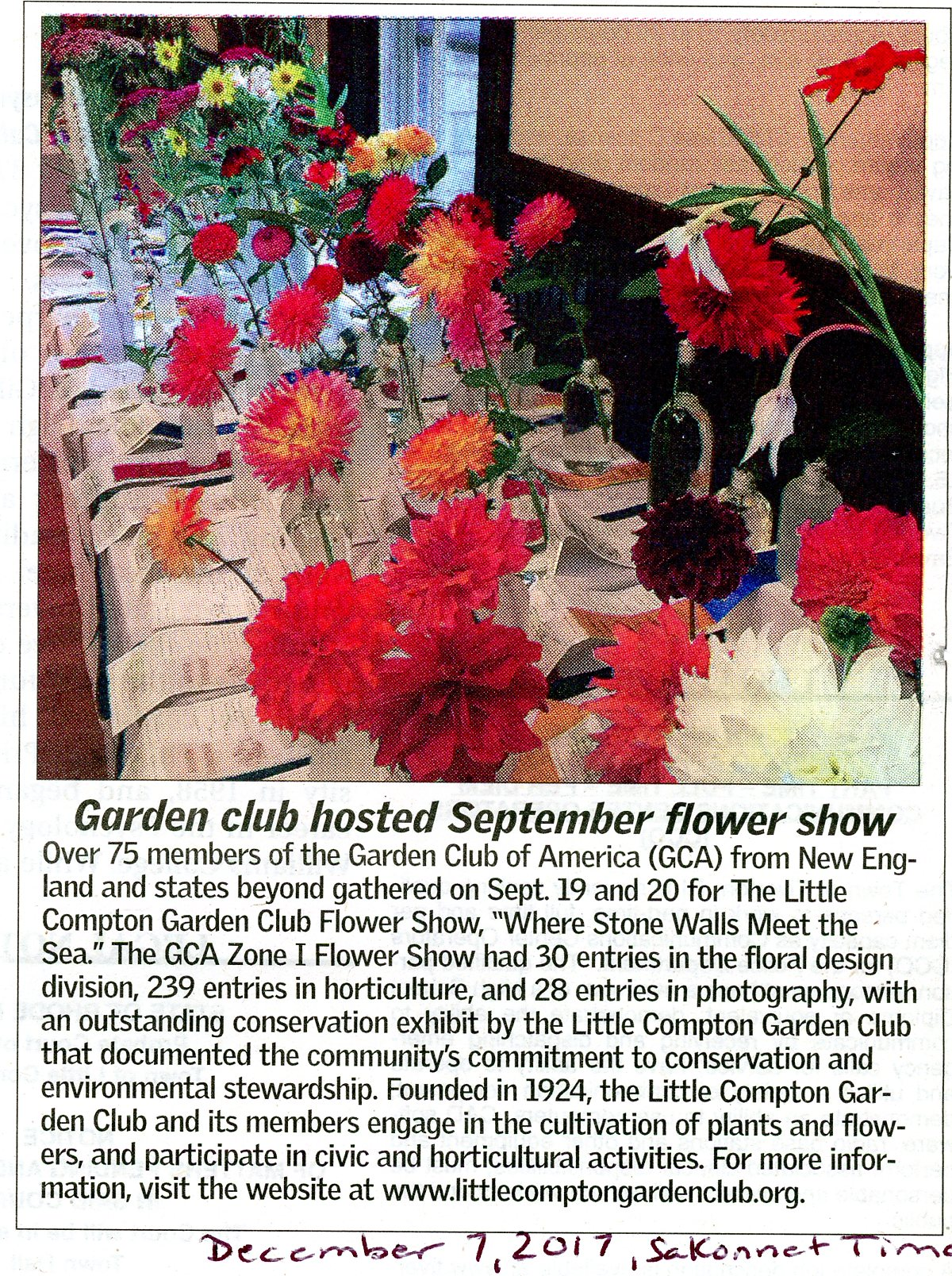Sakonnet Times Article about Zone 1 Flower Show
