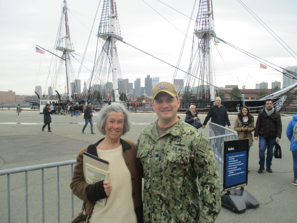 Lucy Chase with Commander Nathaniel R. Shick, Commander of the USS Constitution